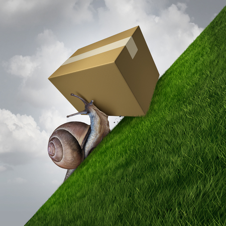 Slow delivery and package shipping as a snail pushing a cardboard box parcel up ahill as a postal service concept with 3D illustration elements.