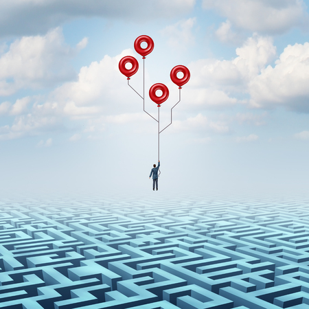 Technology Solution and high tech innovation business metaphor as a businessman holding balloons over a maze shaped as a computer circuit with 3D illustration elements.