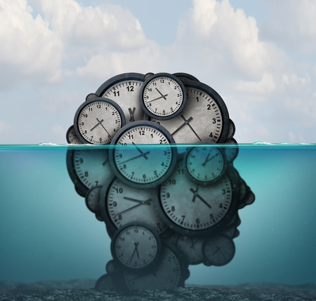 Time management and overworked suffocating or drowning in deadlines with an overload of work with 3D illustration elements.