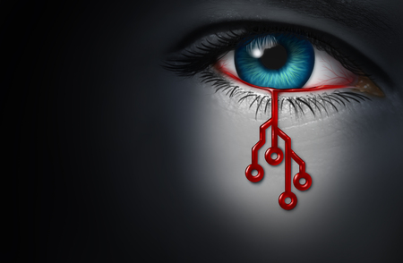 Technology danger as a human with red blood shaped as a computer circuit dripping from an eye as a computing and humanity risk or cyber terrorism in a 3D illustration style.