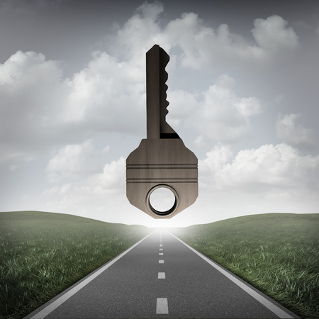 Road key to success concept as a path to succeed with a solution goal ahead as a surreal business or life metaphor for answers as a 3D illustration. Standard-Bild