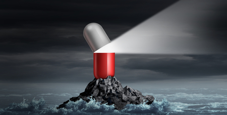 Medical advice and medication guidance and prescription drugs health consultation as a giant pill shaped as a lighthouse beacon with 3D illustration elements.