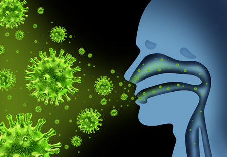 Flu virus spread caused by influenza with human symptoms of fever infecting the nose and throat as deadly microscopic microbe cells with 3d illustration elements.