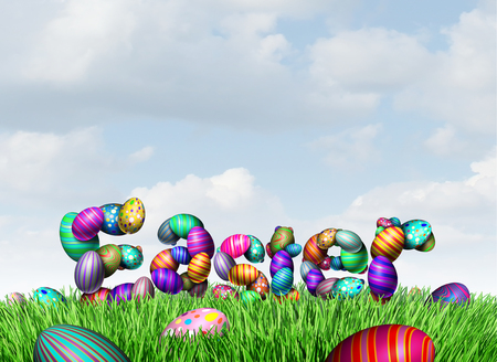 Easter text on grass as a spring celebration happy greeting with decorated eggs as a 3D illustration. Standard-Bild