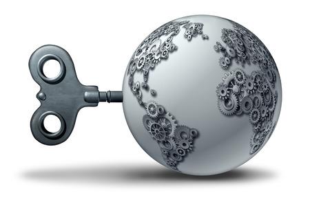 세계 경제 비즈니스 기호 및 3D 그림으로 기어와 톱니 바퀴 모양의 지구와 같은 국제 가져 오기 내보내기 무역 계약 개념. 스톡 콘텐츠