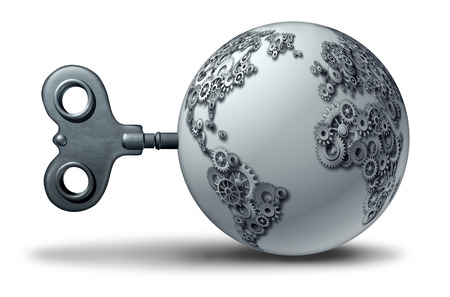 World economic business symbol and international import export trade agreement concept as a planet earth shaped as gears and cog wheels as a 3D illustration.