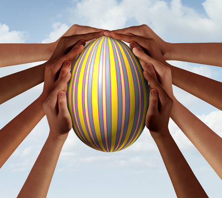 Easter people coming together as a group of diverse community members holding a decorated spring holiday egg in a traditional celebration with 3D illustration elements.
