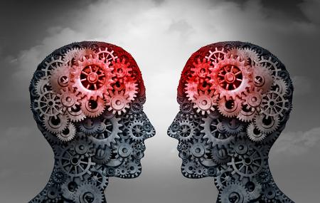 Telepatia e mente lendo psicologia ou conceito de conexão mental como símbolos de pessoas telepáticas se comunicando através de ondas cerebrais como uma ilustração 3D Foto de archivo