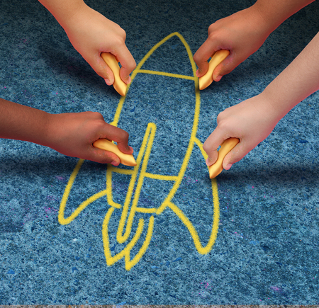 Rocket child ambition concept as a group of children drawing a spaceship with chalk in a 3D illustration style. Standard-Bild