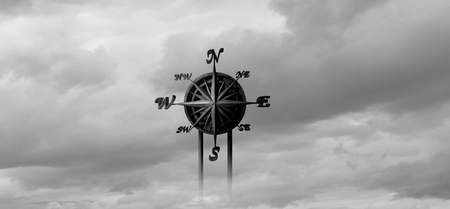 Directions concept as a life purpose guide symbol or business mission guidance and answers to knowing how to proceed with deciscions as a compass as a 3D illustration.