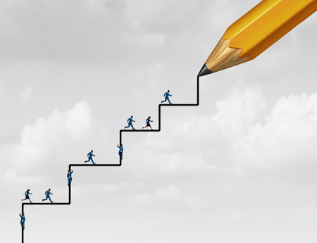 Steps of success planning as people running and climbing with a pencil drawing an opprtunity to succeed with 3D illustration elements.  Standard-Bild