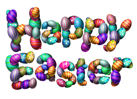 Happy easter text isolated on a white background as a spring celebration with decorated eggs as a 3D illustration. Stock Photo