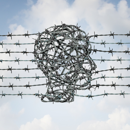 Border security and customs federal enforcement and protection fence shaped as a human head as a guard or law enforcer to protect or jail in a 3D illustration style.