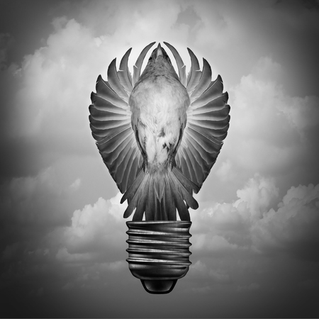 Creative concept as a surreal idea and innovation metaphor with a bird with open wings shaped as a light bulb with 3D illustration elements.