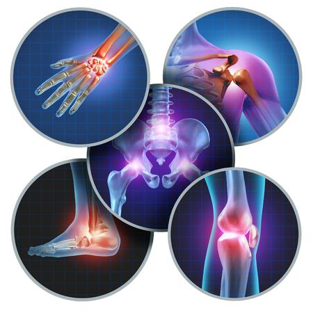 Menschliches schmerzliches Gelenkkonzept mit der Skelettanatomie des Körpers mit einer Gruppe Wunden mit glühenden Gelenkschmerzen und Verletzungs- oder Arthritiskrankheitssymbol für Gesundheitswesen und medizinische Symptome.
