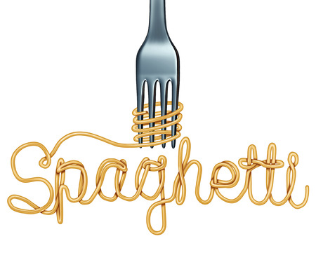 Spaghetti symbol isolated on a white background as an Italian pasta icon with a fork shaped as text as a 3D illustration.