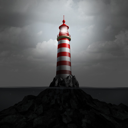 Lighthouse and watchtower light beacon as a metaphor for guidance and warning guidance to avoid danger as a 3D illustration. Standard-Bild