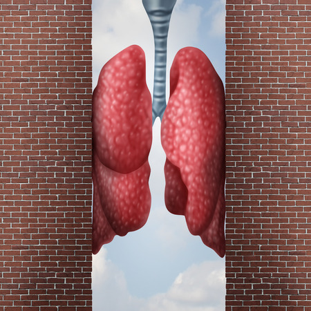 Asthma health problem concept as difficulty in breathing caused by respiratory distress with the tightening of air passage as lungs constricted with 3D illustration elements.