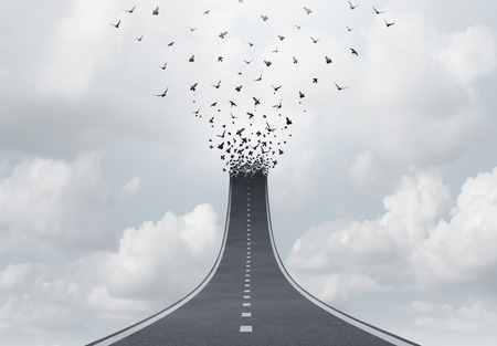 Spiritual journey as a highway to heaven faith concept or spirituality salvation freedom symbol as a road transforming into flying birds with 3D illustration elements. Stock Photo