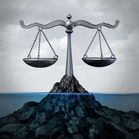 3Dイラストとして正義の概念や漁業規制のシンボルのスケールとして海洋と提督法と海洋法サービス。
