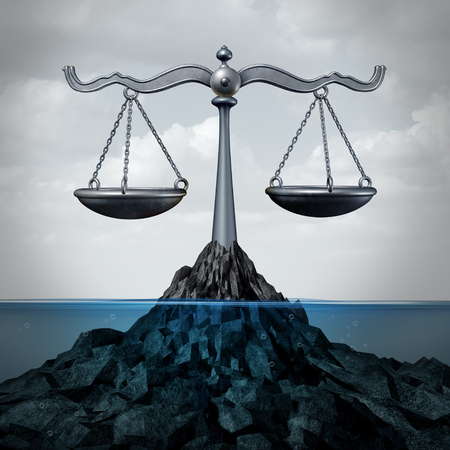 Maritime and admirality law and ocean legal services as a scale of justice concept or fishing regulations symbol as a 3D illustration.
