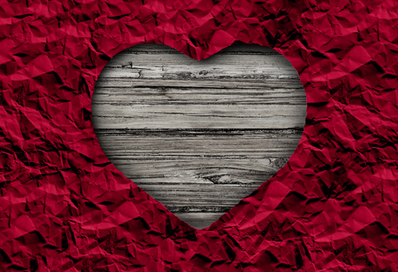 Valentine abstract concept on rustic wood with copy space in a 3D illustration style.