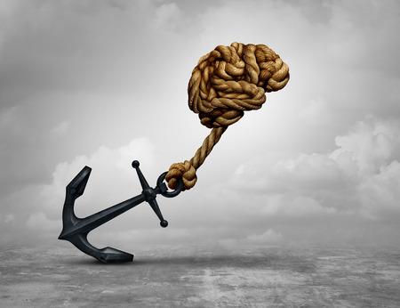 ●3Dイラストでアンカーを引っ張るロープで作られた人間の脳としてのパワフルな決断とパワー思考コンセプト。