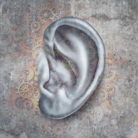 3Dイラスト要素を持つ機械的シンボルを持つ人間の耳としての聴覚医学のための難聴と難聴医療の概念。 写真素材