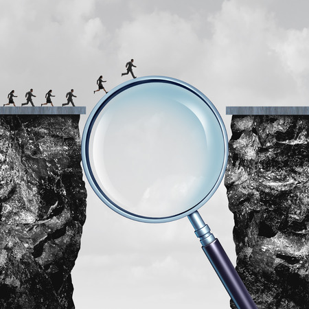 Search solution as business internet browsing answers as a group of people crossing a cliff helped by a giant magnifying glass with 3D illustration elements.