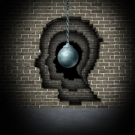 Deep psychology and psychoanalysis depth or mental and cognitive science study with 3D illustration elements.