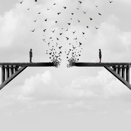 Scheidung und Trennung als Paar auf einer defekten verblassenden Brücke, die weg als geteiltes Verhältnis-Konzept mit Elementen der Illustration 3D fliegt.