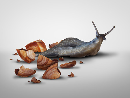 Life in transition and change your image concept or lose baggage concept as a snail that has lost its shell in a 3D illustration style. Stock Photo