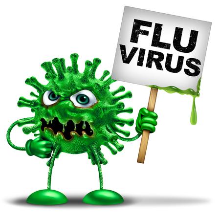 Virus de la gripe La vacuna contra la gripe y la enfermedad de la gripe símbolo de peligro para la salud como una mascota icono médico que representa una célula viral y un virus mortal de temporada como una ilustración 3D. Foto de archivo