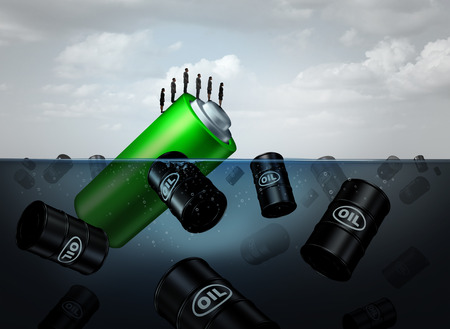Electric energy concept as a symbol for sustainable power or alternative fuel sustainability as a group of crude oil barrels floating in water with a renewable source as a 3D illustration. Stock Photo