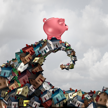 Real estate mortgage lending concept as a piggy bank riding a housing wave as a family home renovation or buying budget symbol as a 3D illustration.