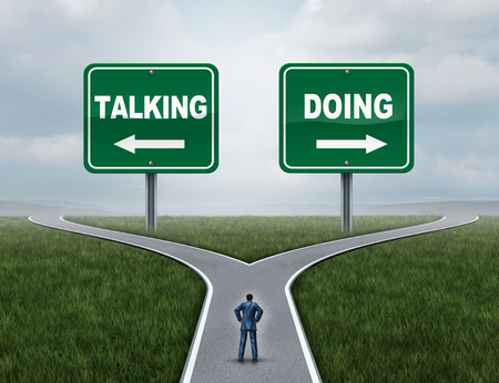 Motivation concept as a courage and fear metaphor with a person at a crossroad with talking or doing signs for talkers versus doers with 3D illustration elements.