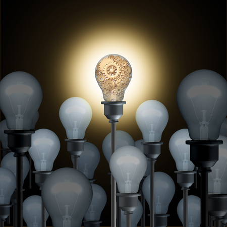 Innovation concept with light bulbs as a business or industry technology ingenuity idea and inspiration symbol as a 3D illustration.
