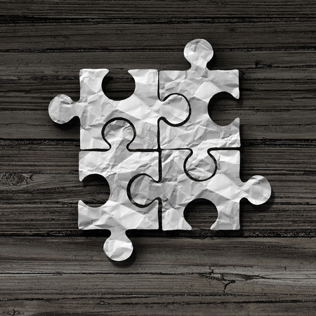Business puzzle concept as an abstract symbol for unity and connection as a jigsaw piece metaphor in a 3D illustration style.