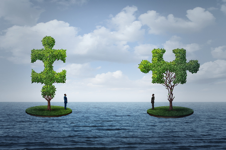 International trade challenge and global commerce puzzle as two people on seperate islands  with trees shaped as a jigsaw piesces with 3D illustration elements.