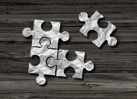 Puzzle business solution concept as crumpled paper shaped as jigsaw pieces assembled together with one piece joining the group n a 3D illustration style.