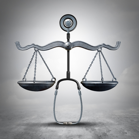 Legal medicine and malpractice law as a stethoscope shaped as a justice scale as a medical legislation symbol as a 3D illustration. Stock Photo