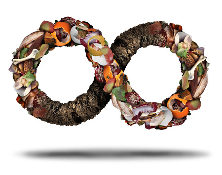 Composting symbol and compost cycle icon system concept as a pile of rotting  fruits egg shells bones and vegetable food scraps shaped as an infinite loop with soil. Banque d'images