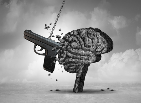 Gun violence and mental illness health concept as a psychiatric brain disorder risk with 3D illustration elements.
