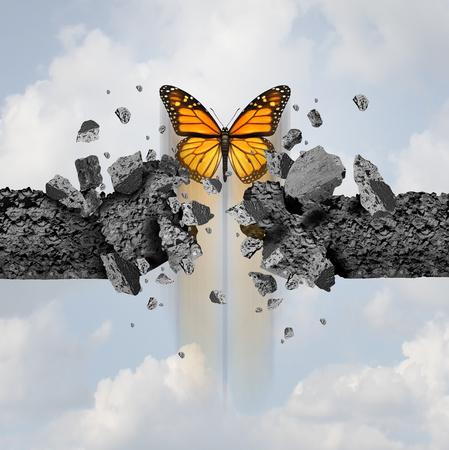Idea de fuerza y concepto de poder imparable como una mariposa que se rompe a través de una pared de cemento en un estilo de ilustración 3D. Foto de archivo