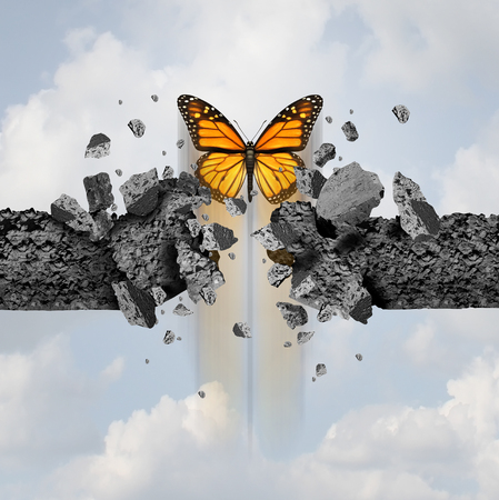 Idea of strength and unstoppable power concept as a butterfly breaking through a cement wall in a 3D illustration style.