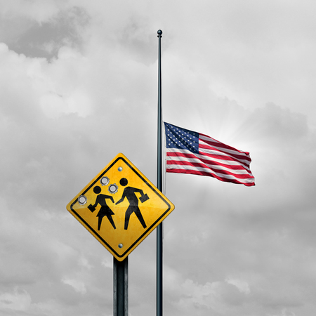 School shooting tragedy and horrific gunfire towards students as a sign with bullet holes with an american flag at half mast for a tragic violent event in the United States with 3D illustration elements. Stock Photo