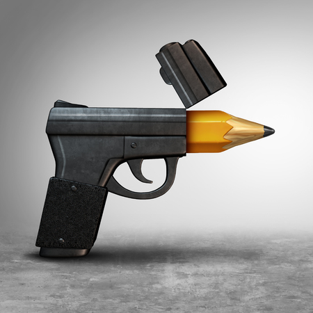 Gun education or guns safety learning or school shooting concept as a handgun pistol shaped as a pencil as a 3D illustration. Stock Photo