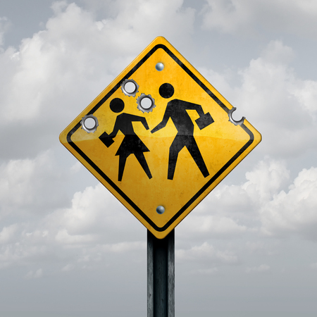 School gun violence concept as a shooting tragedy and horrific gunfire towards a student sign with bullet holes for a tragic violent event with 3D illustration elements.
