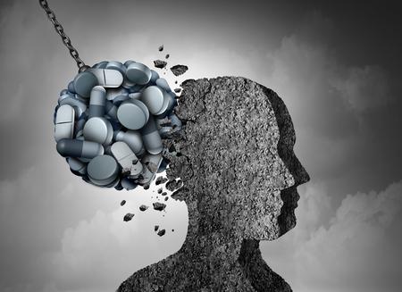 Danger de santé épidémique aux opioïdes et crise médicale avec un concept de dépendance aux analgésiques sur ordonnance comme un groupe de pilules dévastant un patient avec des éléments d'illustration 3D.