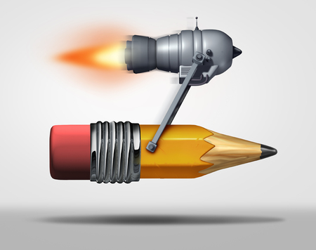Fast learning and quick education service as a jet engine attached to a pencil as a symbol for  training and  efficient schooling as a 3D illustration.
